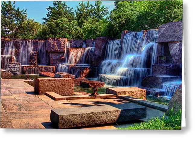 Franklin Roosevelt Digital Art Greeting Cards - Waterfalls FDR Memorial Greeting Card by Don Lovett