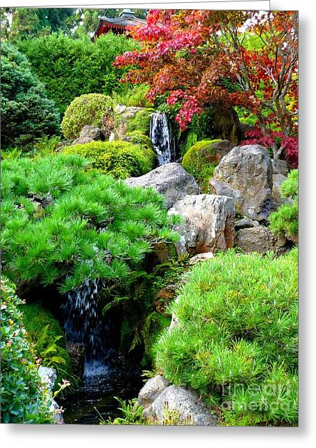 Red Leaves Greeting Cards - Waterfalls in Japanese Garden Greeting Card by Carol Groenen