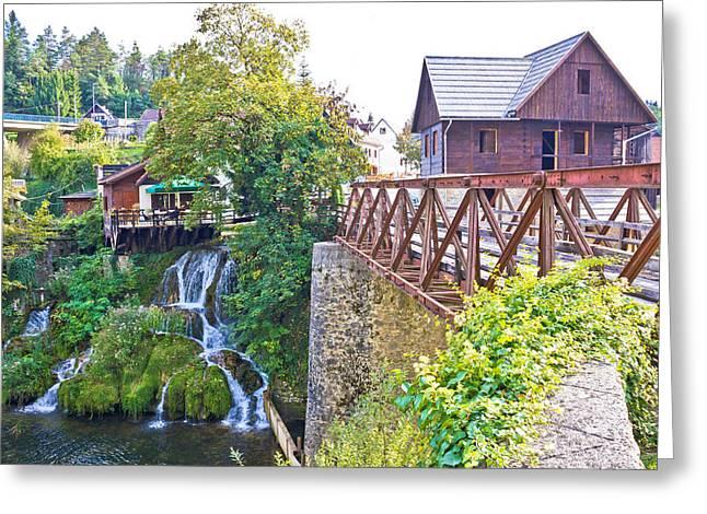 Wooden Platform Greeting Cards - Waterfalls of Rastoke river village Greeting Card by Dalibor Brlek