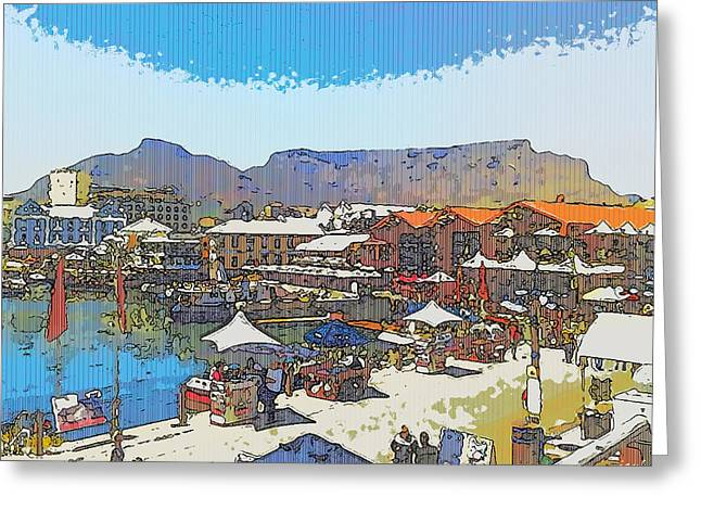 Cape Town Digital Art Greeting Cards - Waterfront and Table Mountain Greeting Card by Jan Hattingh
