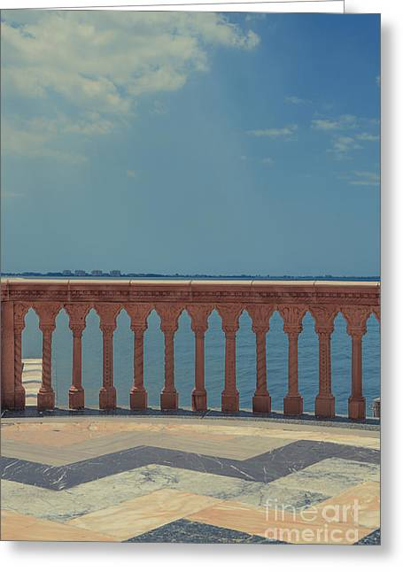 Waterfront Balcony Ringling Ca D Zan The Last Of The Gilded Mansions Greeting Card by Edward Fielding