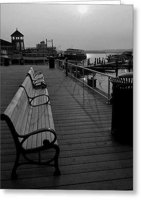 Alexandria Virginia Greeting Cards - Waterfront Benches II Greeting Card by Steven Ainsworth