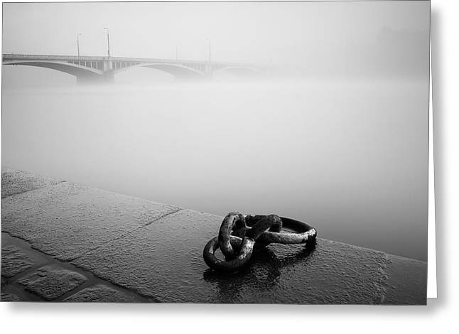 Fog Greeting Cards - Waterfront Greeting Card by Martin Rak