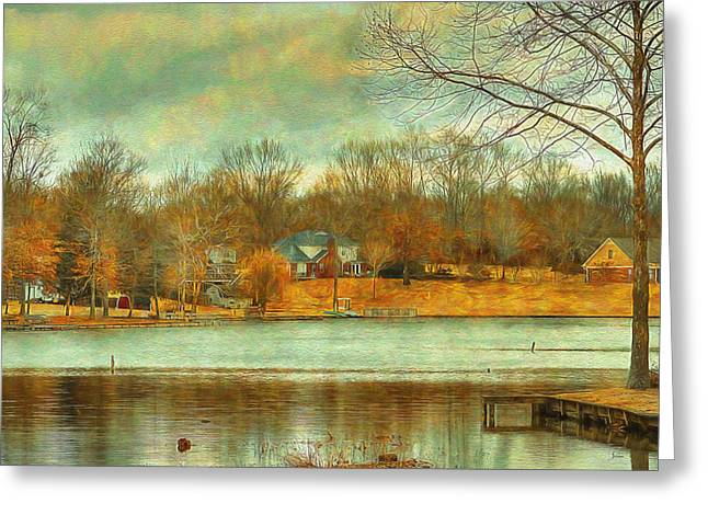 Warm Tones Greeting Cards - Waterfront Property - Lake Landscape Greeting Card by Barry Jones