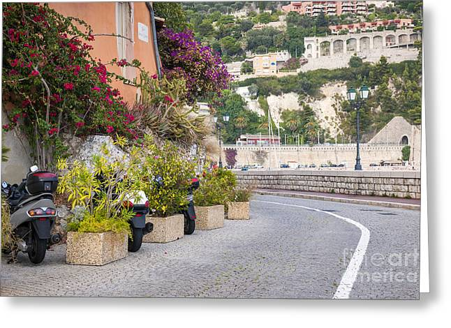 Motor Scooters Greeting Cards - Waterfront street in Villefranche-sur-Mer Greeting Card by Elena Elisseeva