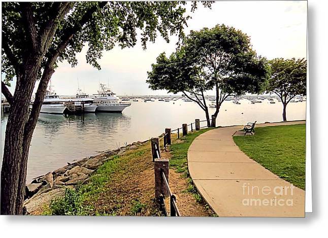 Plymouth Harbor Greeting Cards - Waterfront Walk Greeting Card by Janice Drew