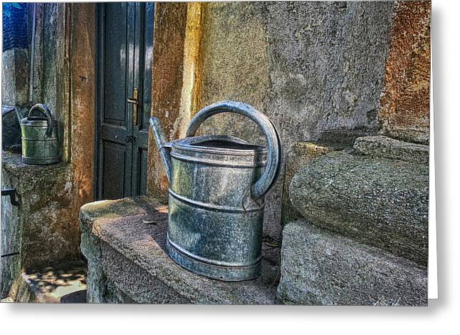 Diana Haronis Greeting Cards - Watering Cans Greeting Card by Diana Haronis