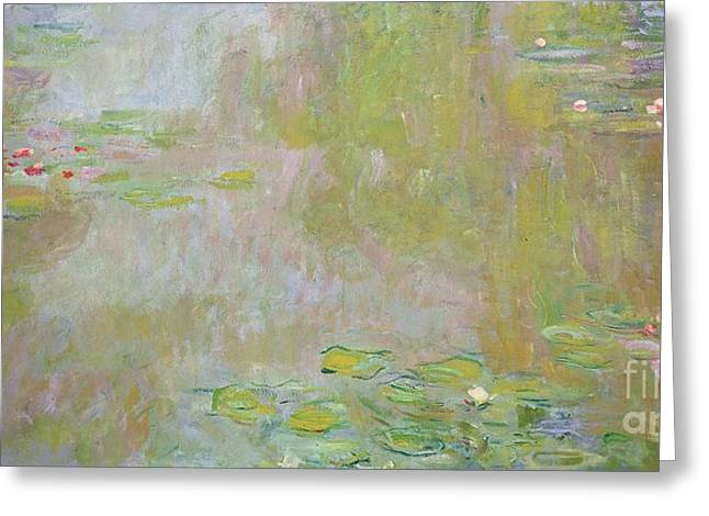 Calm Waters Paintings Greeting Cards - Waterlilies at Giverny Greeting Card by Claude Monet