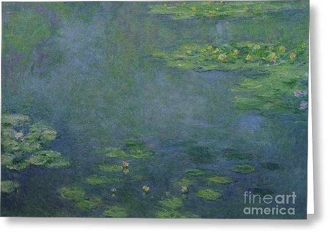 Lights Reflecting On Water Greeting Cards - Waterlilies Greeting Card by Claude Monet