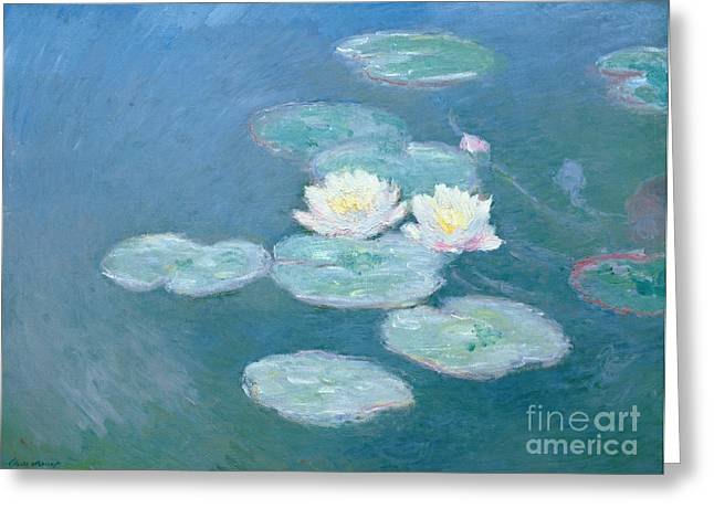 Flowers Paintings Greeting Cards - Waterlilies Evening Greeting Card by Claude Monet