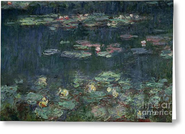 Reflections Paintings Greeting Cards - Waterlilies Green Reflections Greeting Card by Claude Monet