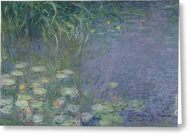 Impressionist Greeting Cards - Waterlilies Morning Greeting Card by Claude Monet