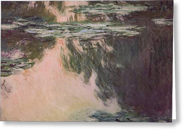 Waterlilies with Weeping Willows Greeting Card by Claude Monet