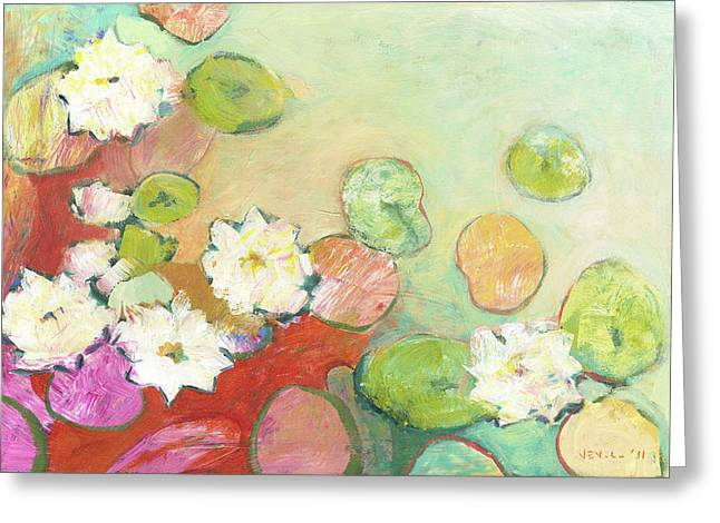 Lilly Pond Paintings Greeting Cards - Waterlillies at Dusk No 2 Greeting Card by Jennifer Lommers