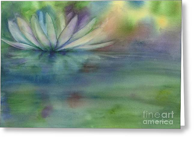 Lotus Blossoms Greeting Cards - Waterlily Greeting Card by Amy Kirkpatrick