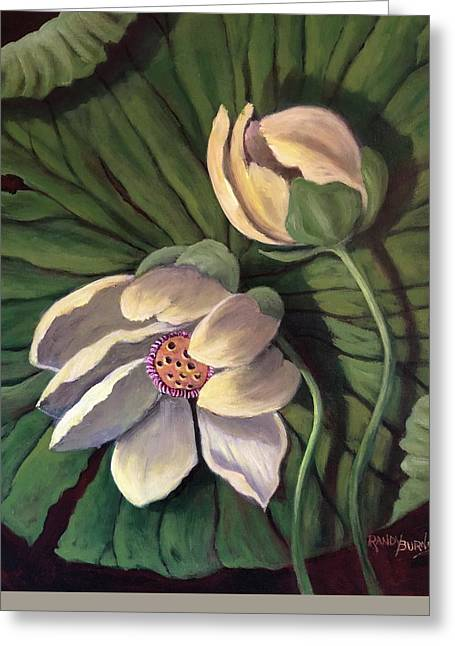 Waterlily Like A Clock Greeting Card by Randol Burns