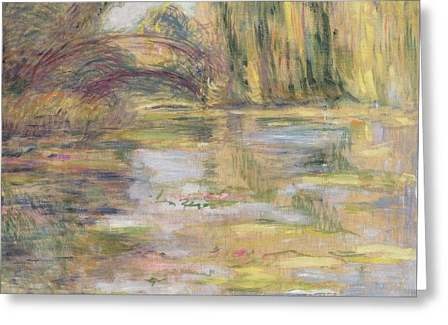 Waterlily Pond, The Bridge Greeting Card by Claude Monet