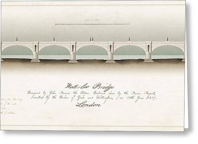 Rennie Greeting Cards - Waterloo Bridge London Greeting Card by Justin Fagence