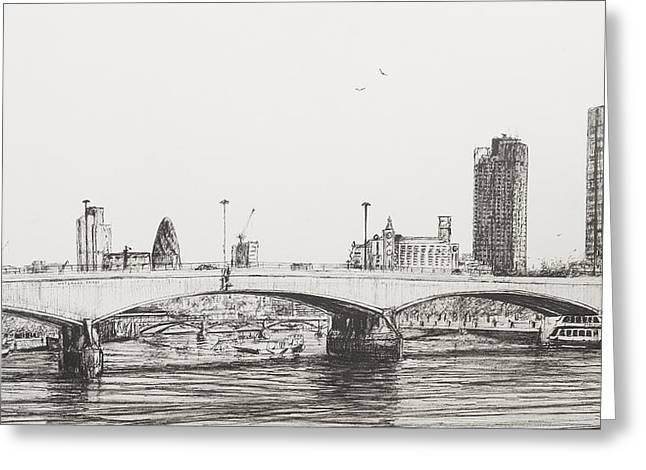 Boats In Water Greeting Cards - Waterloo Bridge Greeting Card by Vincent Alexander Booth