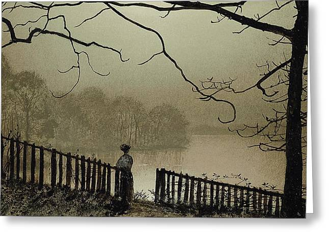 Gloom Greeting Cards - Waterloo Lake Roundhay Park Leeds Greeting Card by John Atkinson Grimshaw