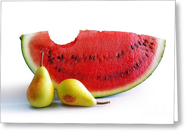 Watermelon Photographs Greeting Cards - Watermelon and Pears Greeting Card by Carlos Caetano