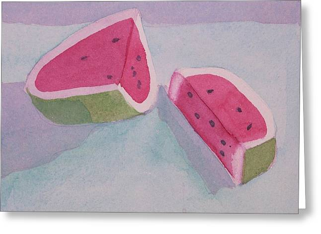 Watermelon Greeting Cards - Watermelon Greeting Card by Charlotte Hickcox