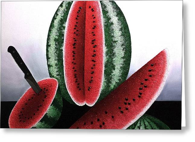 Homes Glass Greeting Cards - Watermelon Crystal Geodes Greeting Card by Jose Masis-Oliver