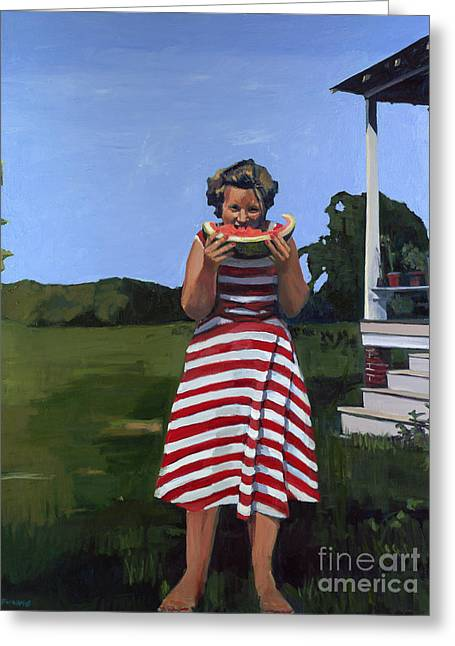 Watermelon Eater Greeting Card by Deb Putnam
