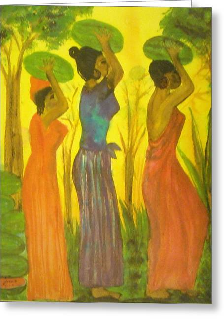 Watermelon Greeting Cards - Watermelon ladies Greeting Card by Aldonia Bailey