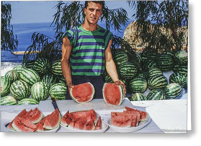 80s Greeting Cards - Watermelon Man Greeting Card by Marco Missinato