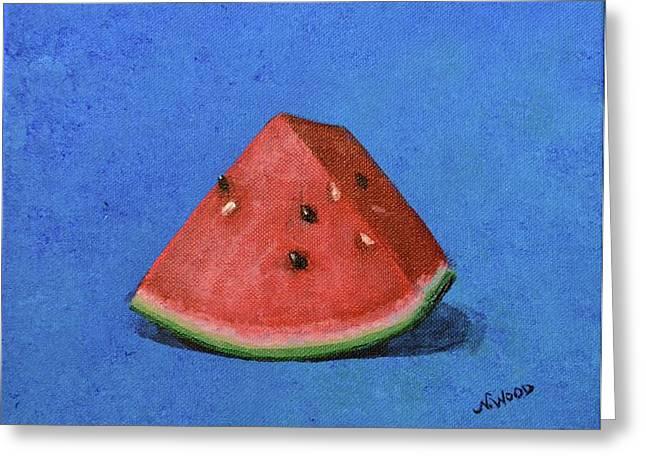 Watermelon Greeting Cards - Watermelon Greeting Card by Nancy Wood