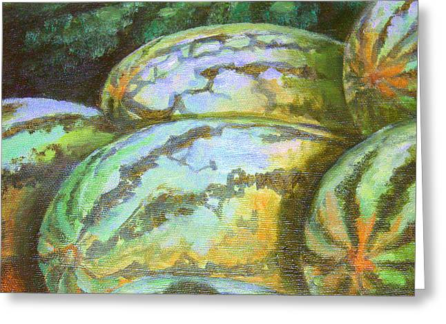 Watermelon Greeting Cards - Watermelon  Southern Gold Greeting Card by Toni Crosby