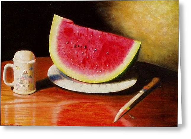 Gene Gregory Greeting Cards - Watermelon time Greeting Card by Gene Gregory