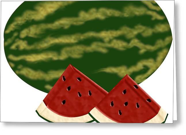 Watermelon Time Greeting Card by Melissa Stinson-Borg
