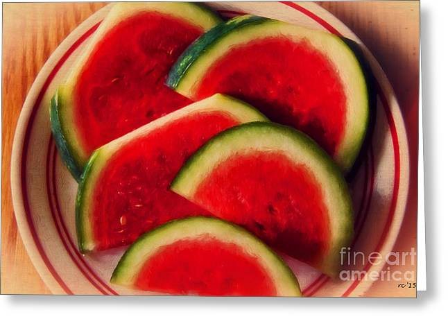 Watermelon Greeting Cards - Watermelon Time... Greeting Card by Rene Crystal