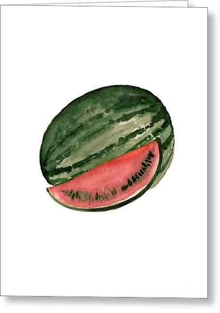 Watermelon Tropical Fruits Poster Greeting Card by Joanna Szmerdt