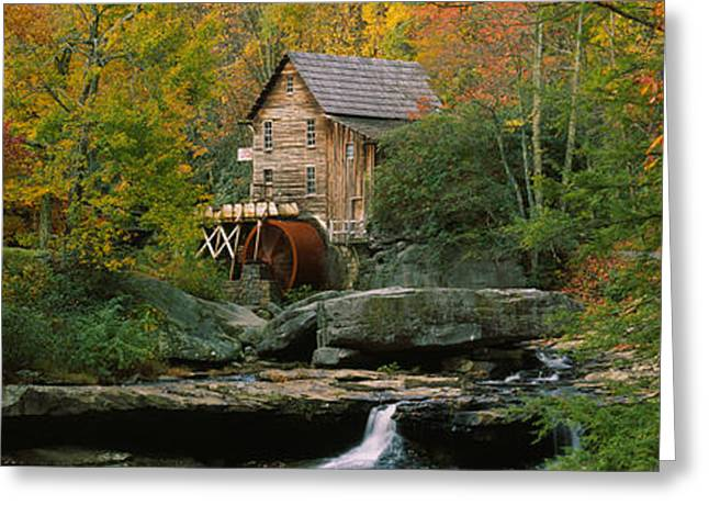 Falling Water Greeting Cards - Watermill In A Forest, Glade Creek Greeting Card by Panoramic Images