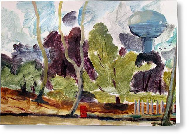 Watertower From Maconaquah Park Greeting Card by Charlie Spear