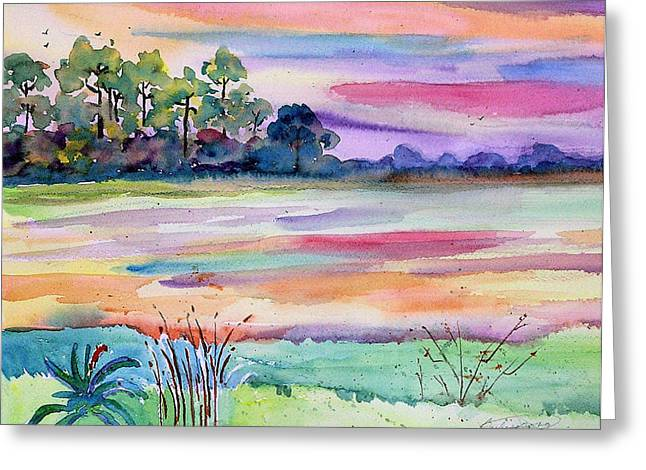 Water Flowing Mixed Media Greeting Cards - Waterway Dawn Greeting Card by Barbara Jung