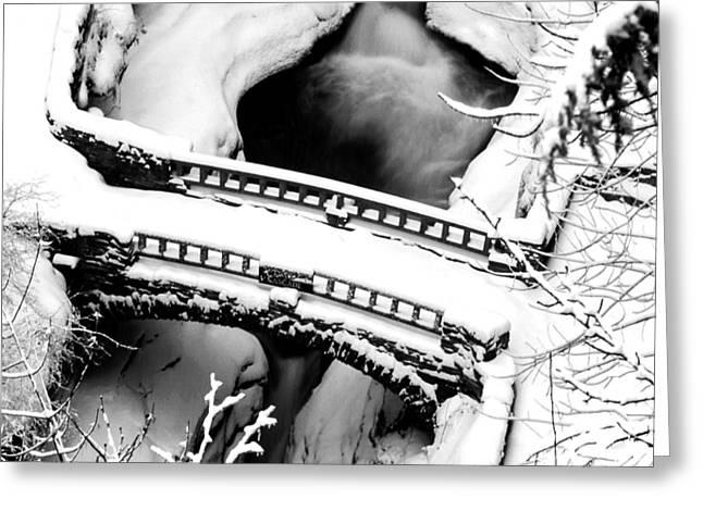 Watkins Glen Gorge Bridge in Winter Greeting Card by Roger Soule