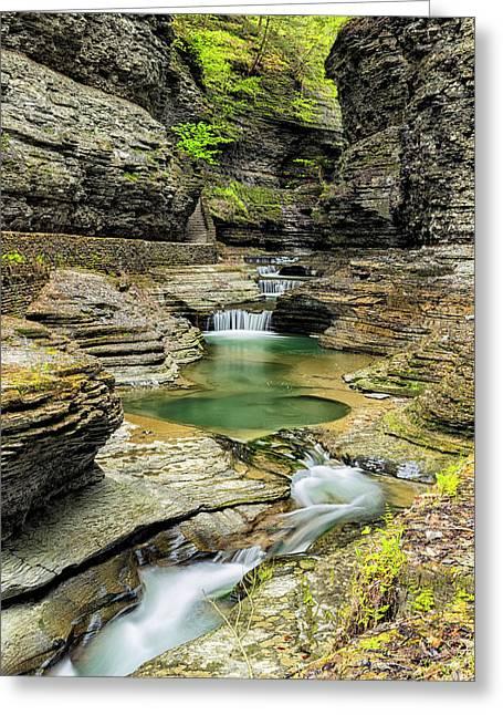 Watkins Glen Gorge Trail Greeting Card by Stephen Stookey