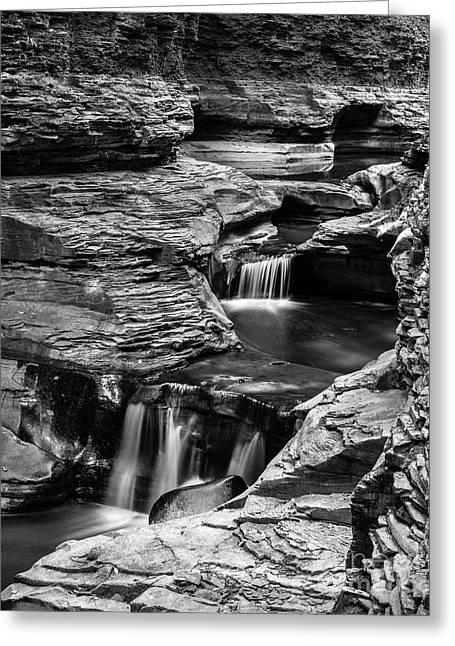 Watkins Glen Gorge Waterfall Black And White Greeting Card by Edward Fielding
