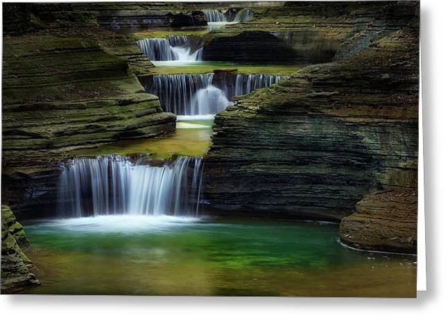 Seneca Valley Greeting Cards - Watkins Glen New York Waterfall Greeting Card by Bill Wakeley