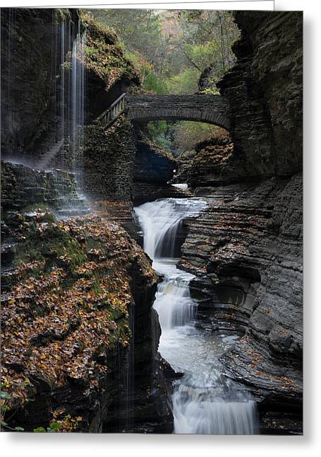 Watkins Glen Rainbow Falls Greeting Card by Joshua House