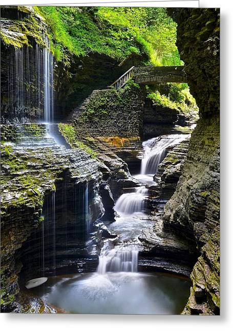 Finger Lakes Greeting Cards - Watkins Glen State Park Feature Falls Greeting Card by Frozen in Time Fine Art Photography