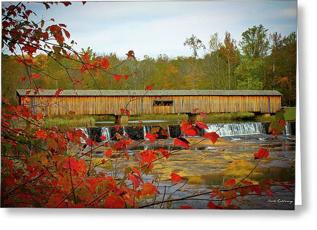 Watson Mill Covered Bridge Autumn Greeting Card by Reid Callaway