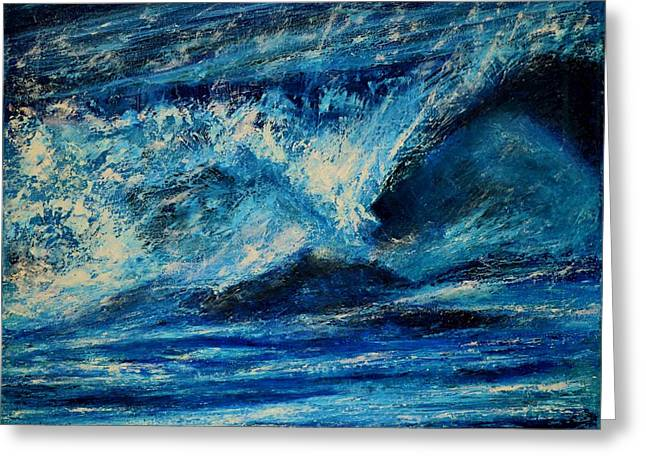 White Paintings Greeting Cards - Wave 1 Greeting Card by Dimitra Papageorgiou