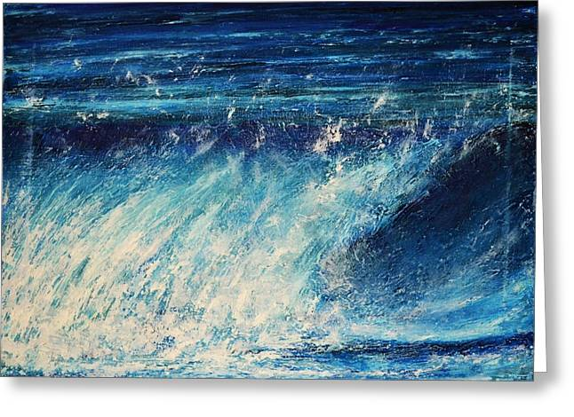 White Paintings Greeting Cards - Wave 2 Greeting Card by Dimitra Papageorgiou