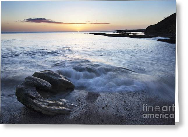 Sand Castles Greeting Cards - Wave Breaking on the Shore at Castle Sands Greeting Card by Mark Sunderland