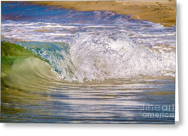 Sand Pattern Greeting Cards - Wave crashing on the shore Greeting Card by Claudia Mottram